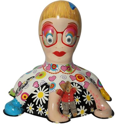 Lot 19 - Claire Loves Alan by Traci Moss – Cheerful Grayson Perry-inspired character with patterns, cat and teddy bear