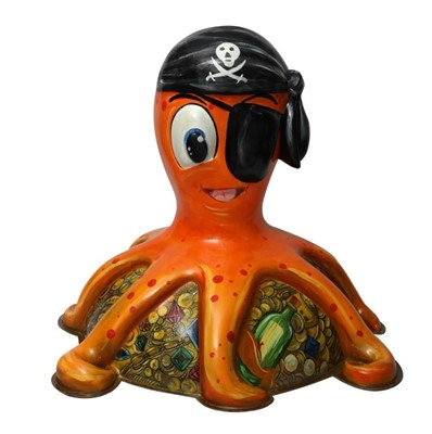 Lot 22 - Octopirate by Deven Bhurke – Jolly, orange pirate character with bandana and eyepatch, on a base of found treasures