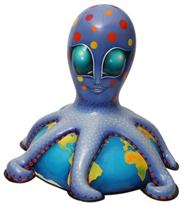 Lot 23 - Alien by Sue Guthrie – Friendly alien octopus character, with purple skin and spots, on planet Earth base
