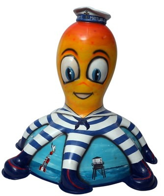 Lot 29 - Sailor Buoy by Mik Richardson – Happy orange character in striped sailor suit with hat on base depicting seaside scenes