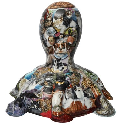 Lot 30 - Facebook Felines by Alison Burchert – Hyperrealistic cat portraits, with their names, covering entirety of sculpture