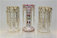 Lot 1046 - Pair of 19th century overlaid glass lustres...