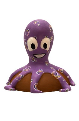 Lot 13 - Bubs by Alana Fensom – The smallest octopus, with body in light purple covered in bubbles, on stone base