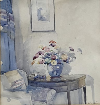 Lot 73 - Mid 20th century watercolour of a interior with vase of flowers, indistinctly signed, together with a 1950s watercolour of a Colchester street scene, signed (the artist believed to have been a Poli...