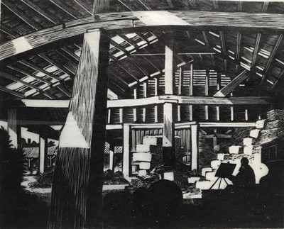 Lot 72 - B Woodcock, wood engraving, The barn at Stratford St Mary, together with four various pictures