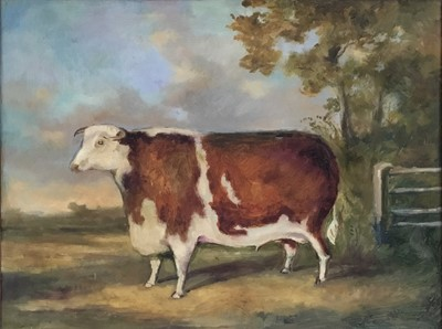 Lot 76 - 19th century style oil on board - specimen bull, 37 x 46cm, in 19th century rosewood frame
