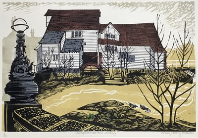 Lot 161 - Penny Berry Paterson (1941-2021) linocut print, Bradford Street Mill, Bocking, signed and numbered A/P, 30 x 42cm, with mount