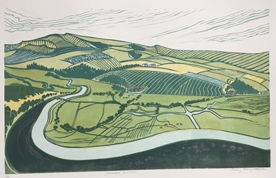 Lot 162 - Penny Berry Paterson (1941-2021), colour linocut print, Downland landscape, signed and numbered 6/30, image 31 x 52cm
