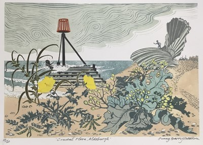 Lot 163 - Penny Berry Paterson (1941-2021) colour linocut print, Coastal Flora, Aldeburgh, signed and numbered 14/20, image 46 x 31cm