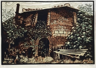 Lot 164 - Penny Berry Paterson (1941-2021) colour linocut print, Colliers brick kiln, signed and numbered A/P, 40 x 58cm