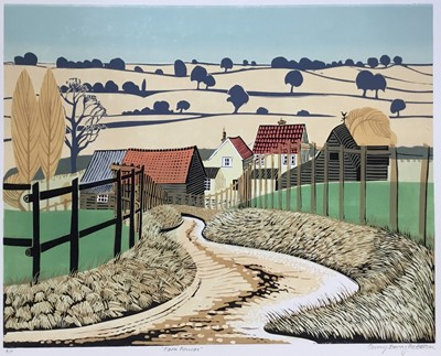 Lot 165 - Penny Berry Paterson (1941-2021) colour linocut print, Farm Fences, signed and numbered A/P