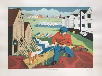 Lot 166 - Penny Berry Paterson (1941-2021) colour linocut print, Tollesbury Sailmaker, signed and numbered 20/20, 42 x 57cm