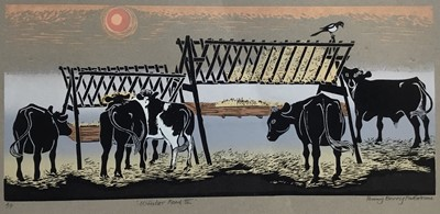 Lot 168 - Penny Berry Paterson (1941-2021) colour linocut print, Winter Food III, signed and numbered A/P, image 51 x 23cm