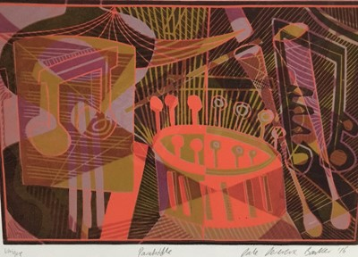 Lot 172 - Dale Devereux Barker (b. 1962), monoprint,  Parradiddle, signed titled and dated, image 18 x 27cm, together group of prints by various local artists. (8)