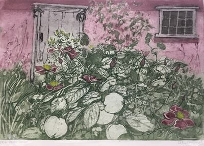 Lot 173 - Della Chapman (contemporary) etching and aquatint, Back Door 2nd Edition, signed, 31 x 44cm, together with a group of etchings by local artists. (5)