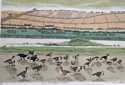 Lot 175 - Penny Berry Paterson (1941-2021) colour linocut print, Geese at Titchwall Marshes, signed and numbered 2/13, 23 x 48cm