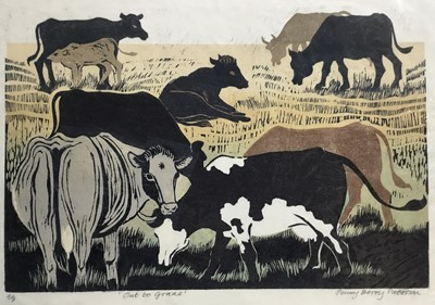 Lot 176 - Penny Berry Paterson (1941-2021) colour linocut print, Out to graze, signed and numbered 4/8, 30 x 42cm