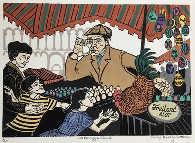 Lot 178 - Penny Berry Paterson (1941-2021) colour linocut print, Easter eggs, Mainz, signed and numbered 1/20, 22 x 32cm