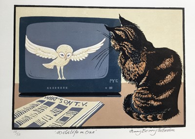 Lot 179 - Penny Berry Paterson (1941-2021) colour linocut print, Wildlife on One, signed and numbered 12/12, 19 x 27cm