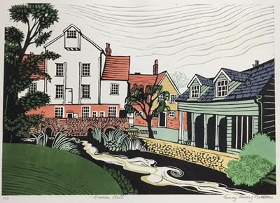 Lot 181 - Penny Berry Paterson (1941-2021) colour linocut print, Wiston Mill, signed and numbered A/P. 29 x 41cm