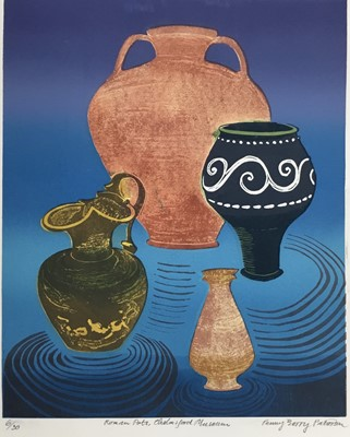 Lot 183 - Penny Berry Paterson (1941-2021) colour linocut, Roman Pots, Chelmsford Museum, signed and numbered 6/30, 33 x 27cm