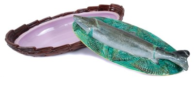 Lot 34 - Victorian George Jones majolica Trout dish and cover