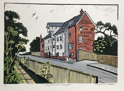 Lot 185 - Penny Berry Paterson (1941-2021) colour linocut print, Springfield Mill, Chelmsford, signed and numbered 5/30, 28 x 41cm
