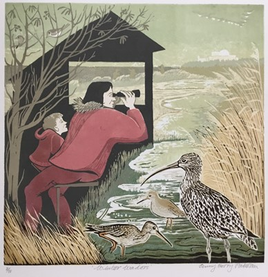 Lot 186 - Penny Berry Paterson (1941-2021) colour linocut print, Winter waders, signed and numbered 8/11, 27 x 27cm