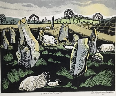 Lot 187 - Penny Berry Paterson (1941-2021) colour linocut print, Stone circle, Mull, signed and numbered H/C, 28 x 34cm
