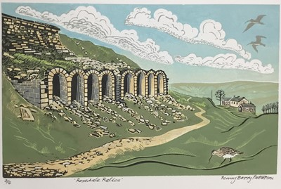 Lot 188 - Penny Berry Paterson (1941-2021) colour linocut print, Rosedale Relics, signed and numbered 3/6, 24 x 40cm
