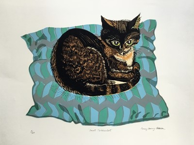 Lot 191 - Penny Berry Paterson (1941-2021) colour linocut print, Small Tortoiseshell, signed and numbered 3/40, image 33 x 41cm