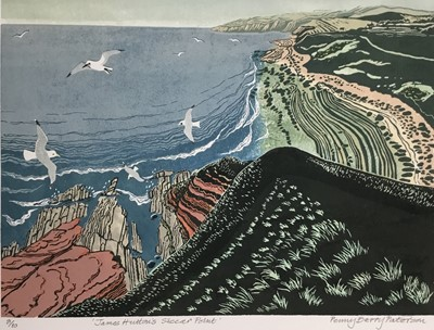 Lot 192 - Penny Berry Paterson (1941-2021) colour linocut print, James Hutton's Siccar Point, signed and numbered 8/10, 29 x 33cm