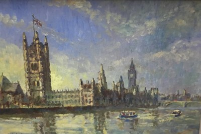 Lot 12 - Charles Brooker (20th century) oil on board - Houses of Parliament from the Thames