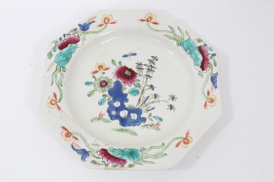 Lot 16 - Bow octagonal plate, circa 1753-54, painted in the Chinese famille rose style with flowers, 22cm across