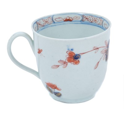 Lot 18 - Rare Vauxhall coffee cup, circa 1758-60, painted and gilt in the Chinese Imari style, 6cm high