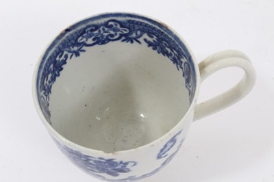 Lot 21 - Worcester coffee cup, circa 1780, printed in blue with the Bat pattern, 5.75cm high