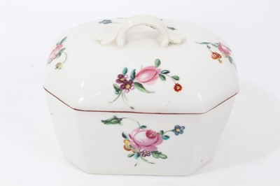 Lot 23 - Derby canted rectangular butter tub and cover, circa 1760-65, polychrome painted with floral sprays, with red-painted rims, 12cm across