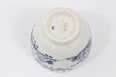 Lot 26 - Caughley sucrier and domed cover with flower finial, circa 1785, printed in blue with the Fence pattern, 12.5cm high
