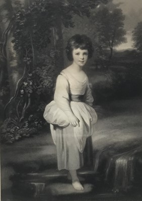 Lot 32 - After Joshua Reynolds, 19th century mezzotint by Samuel Cousins, Lady Anne Fitzpatrick together with another of a Jewish scene by I B Yentl