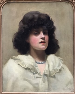 Lot 33 - A Crump (19th century), oil on canvas portrait of a lady, signed and dated 91