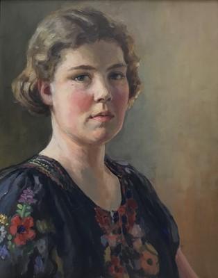 Lot 48 - Max Hoffler (1892-1963) oil in board portrait of a young lady