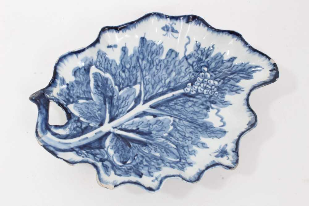 Lot 28 - Bow blue and white leaf-shaped dish, circa 1760, 21cm across