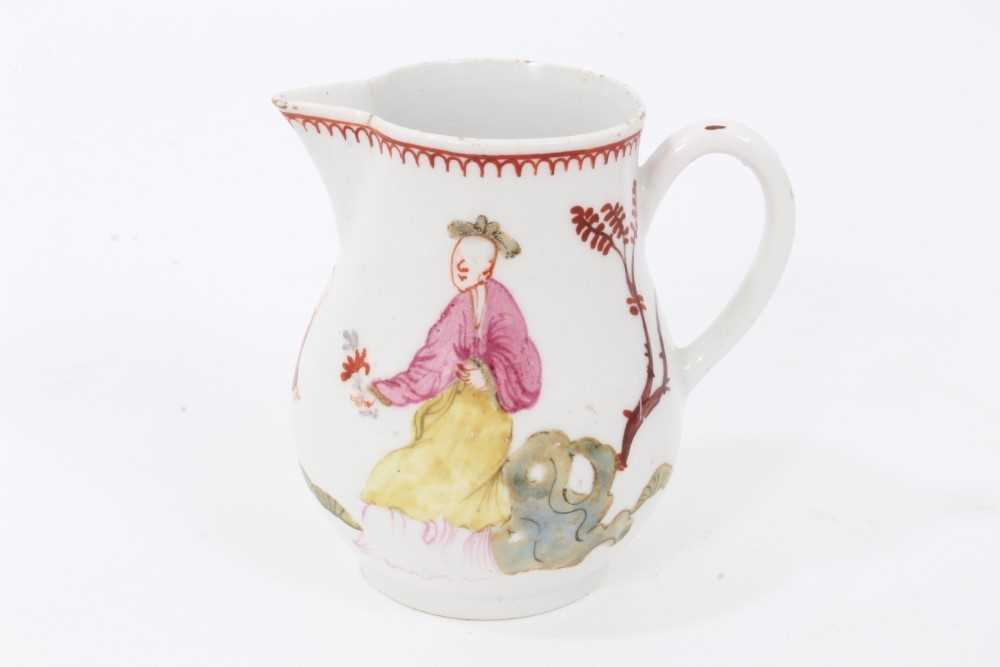 Lot 29 - Bow sparrow beak milk jug, circa 1760-65, painted in polychrome enamels with figures in the Chinese style, 7.5cm high