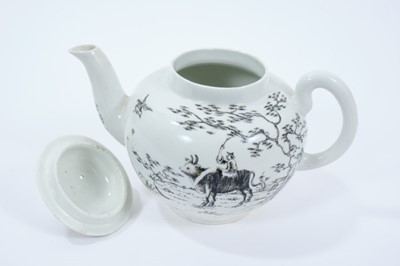 Lot 30 - Worcester teapot and cover, circa 1755-56, decorated in monochrome black with the Boy on a Buffalo pattern, 13.5cm high