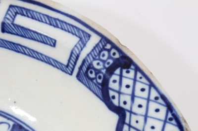 Lot 31 - Caughley kidney shaped dish, circa 1785, decorated in blue and white with the Weir pattern, 27.5cm wide