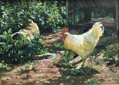 Lot 21 - Margaret Glass (b. 1950)  oil on board - The White Cockerel