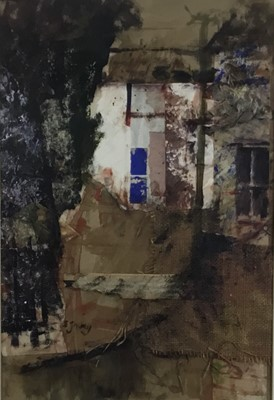Lot 15 - Edward Gentry (b. 1943)  mixed media and collage 'Houses at Moniaive'n