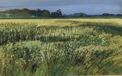Lot 17 - Kit Leese ( contemporary) gouache, Cornfield Withermarsh Green, signed