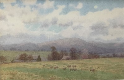 Lot 19 - John Barlow Wood (1862-1949) watercolour - Summer landscape, and another by the same hand and a print (3)