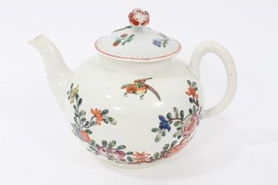 Lot 45 - An early Worcester teapot, circa 1754-55, polychrome painted in the Chinese style, with non-matching cover, 12cm high